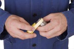 Plombier avec le type sceau d'amorçage Image libre de droits