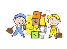 Plombier et électricien Workers Vector de bande dessinée Photo libre de droits