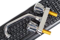 Plombier et clavier Images stock