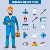 Plombier Service Icon Set Illustration Stock