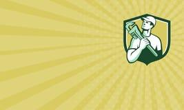Plombier Wrench Shield Retro de marchand de carte de visite professionnelle de visite Images stock