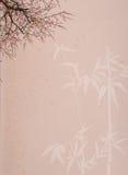 Plommonblomning på gammalt antikt tappningpapper Royaltyfria Bilder