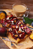 Plommonkaka med mandlar och valnötter Fotografering för Bildbyråer