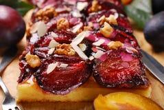 Plommonkaka med mandlar och valnötter Arkivbild