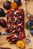 Plommonkaka med mandlar och valnötter Arkivfoton