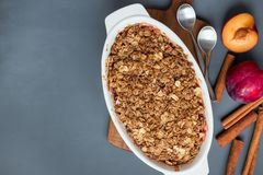 Plommonsmulpajpaj eller plommonchips med havre och kryddor, i att baka D royaltyfri bild