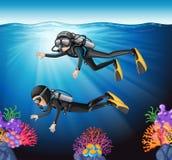 Plongée à l'air dans l'océan Photographie stock libre de droits