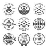Plongée à l'air et emblèmes noirs spearfishing de vecteur Image stock