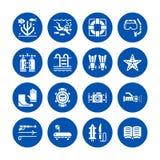Plongée à l'air, icônes plates naviguantes au schnorchel de glyph Équipement de Spearfishing - masquez le tube, nageoires, costum Image libre de droits