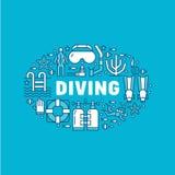 Plongée à l'air, illustration naviguante au schnorchel de bannière Ligne plate icônes, activité de vecteur de sport aquatique d'é illustration libre de droits