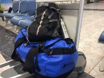 Plongée d'aéroport de voyage de sac à dos de sac Image stock