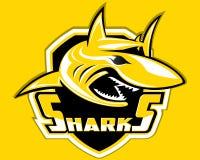 Plongée d'emblème de sport de Logo Vector Mascot Aquatic Predator de sport de bouclier de requin Illustration Libre de Droits