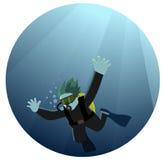 Plongée d'homme en mer Illustration Libre de Droits