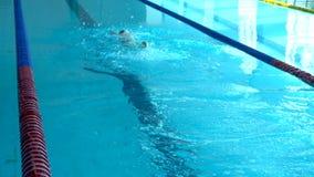Plongée Dans La Piscine Une nageuse plonge dans la piscine pour faire de l'exercice Vue supérieure banque de vidéos