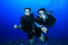 Plongée de couples sur le récif coralien Image libre de droits
