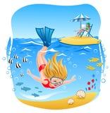 Plongée de fille dans la mer Images libres de droits