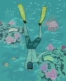 Plongée de garçon au récif coralien Images stock