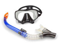 Plongée de masque et de prise d'air et spearfishing. Image stock
