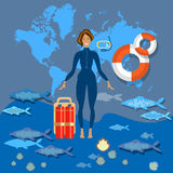 Plongée du monde de tourisme de plongée Photographie stock