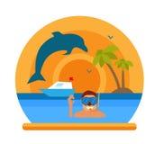 Plongée en mer tropicale outre d'île de paradis Échouez les vacances, palmier, dauphin, masque de plongée, prise d'air, faisant d Photographie stock libre de droits