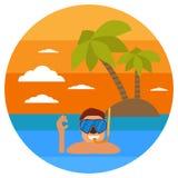Plongée en mer tropicale outre d'île de paradis Échouez les vacances, palmier, masque de plongée, prise d'air Coucher du soleil t illustration stock