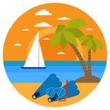 Plongée en mer tropicale outre d'île de paradis Échouez les vacances, palmier, masque de plongée, prise d'air, faisant de la navi Images stock