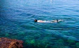 Plongée, naviguer au schnorchel, naviguant au schnorchel, prise d'air, île, Indonésie, yo Image libre de droits