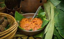 Plongement épicé traditionnel rouge de piment de sambal Image libre de droits