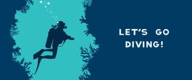 Plongeur autonome, caverne, récif coralien illustration stock