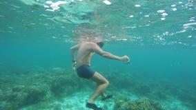 Plongeur autonome d'homme en mer tropicale banque de vidéos