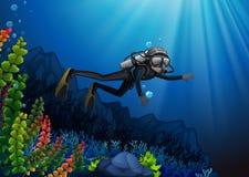 Plongeur autonome dans un récif illustration stock