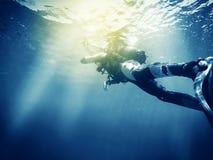 Plongeur autonome Effet de vintage image stock