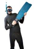 Plongeur avec le fond blanc d'intérieur de nageoire images libres de droits
