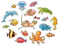 Plongeur avec un ensemble d'animaux de mer illustration stock