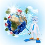 plongeur 3d près de la terre avec des maisons et des arbres Image libre de droits