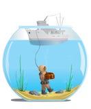 Plongeur dans l'aquarium avec un trésor Photo stock