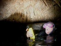 Plongeur de caverne Photo libre de droits
