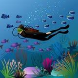 Plongeur de natation dans l'environnement sous-marin coloré Photographie stock libre de droits