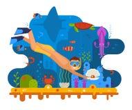 Plongeur de perle Under la mer Photo libre de droits