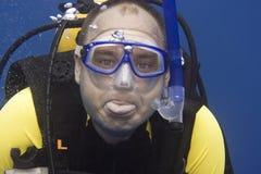 Plongeur dedans profondément photos stock
