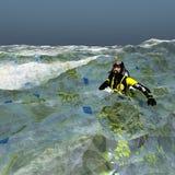 Plongeur en euro mer Images libres de droits