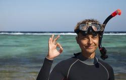 Plongeur heureux Images libres de droits