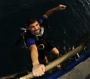 Plongeur heureux après plongée Photos libres de droits