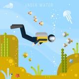 Plongeur sous l'eau Illustration plate de vecteur Photographie stock