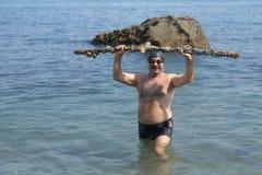 Plongeur supérieur avec l'objet façonné photographie stock