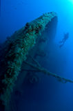 Plongeur sur l'épave Images libres de droits