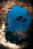 Plongeur sur l'épave Photo libre de droits