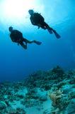 Plongeurs autonomes silhouettés Photographie stock libre de droits