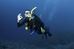 Plongeurs autonomes sur le récif coralien Photos libres de droits