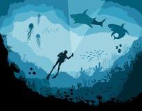 Plongeurs et requins, faune sous-marine de récif illustration de vecteur